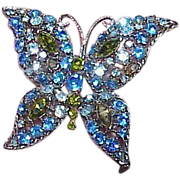 Vintage Blue Green Butterfly Brooch