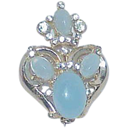 Vintage Opaque Blue Glass Stone Crown Brooch