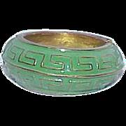 Vintage Enamel Green Clamper Bracelet