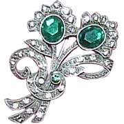 Vintage JJ Green Stone and Rhinestone Flower Brooch
