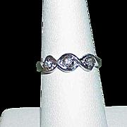 Vintage 10k White Gold Diamond Band Estate Ring