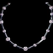 Vintage STERLING PINK PEARL Floating Necklace
