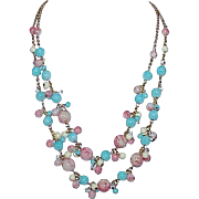 Vintage JOAN RIVERS Faux Turquoise Coral Bead Double Strand Necklace