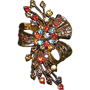 Vintage Autumn Colored Rhinestone Brooch