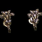 Vintage CORO Silvertone Screw Back Earrings