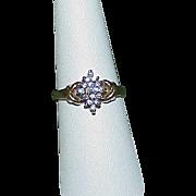 Vintage 10k Diamond Illusion Ring