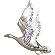 Vintage CORO NORSELAND Sterling Canadian Goose Brooch