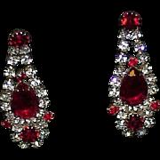 Vintage Art Deco Red Glass Rhinestone Paste Drop Earrings Pierced