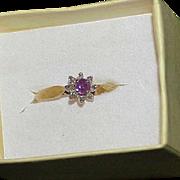 Vintage 10k Gold Ruby Diamond Ring