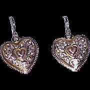 Vintage 14K Gold Heart Earrings Shepherd's Hooks