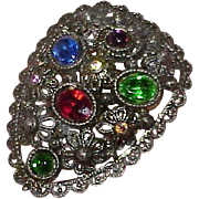 Vintage Signed Fruit Salad Glass Stone Dress Fur Clip