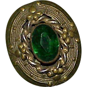 Vintage Art Deco Green Glass Stone Dress Fur Clip