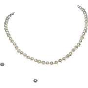 Vintage Strand of Pearls with Stud Pearl Earrings 14k