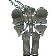 Vintage Pewter Articulated Elephant Pendant on Chain
