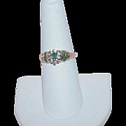 Vintage Emerald Diamond 10k Ring
