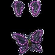 Vintage Japanned Hot Pink Rhinestone Butterfly Brooch Earrings - Demi Parure