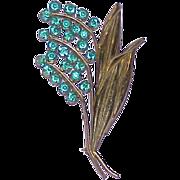 Vintage Green Rhinestone Floral Brooch