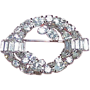 Vintage Rhinestone Double Circle Brooch