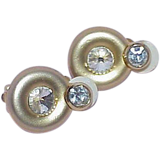 Vintage Elegant Satin Finish Rhinestone Earrings
