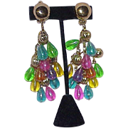 Vintage Fruit Salad Dangle Statement Earrings
