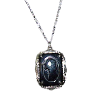 Vintage Elegant Black Art Deco Cameo Pendant on Sterling Chain