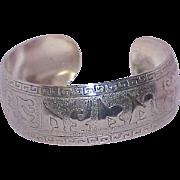 Vintage Silvertone Wide Cuff Bracelet