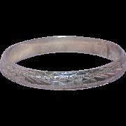 Vintage Diamond Cut Sterling Hinged Bangle Bracelet