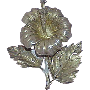 Vintage STERLING Art Deco Flower Brooch