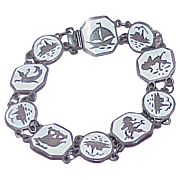 Vintage SIAM STERLING Nielloware White Enamel Articulated Bracelet