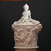 "Circa 1860 Antique signed Copeland ""Putti "" Parian Pedestal Urn with Cover"
