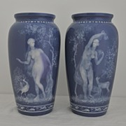 Circa 1880 Very Rare Pair of Signed and Hand-Painted Limoges Pate-sur-Pate Vases