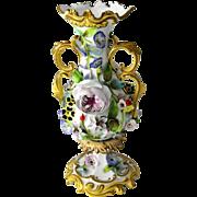 Antique & Rare, Coalport Floral Encrusted Porcelain Vase circa 1849