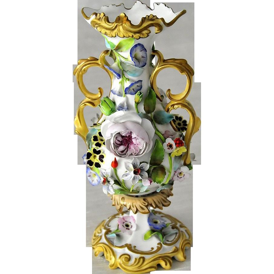 Antique & Rare, Coalport Floral Encrusted Porcelain Vase