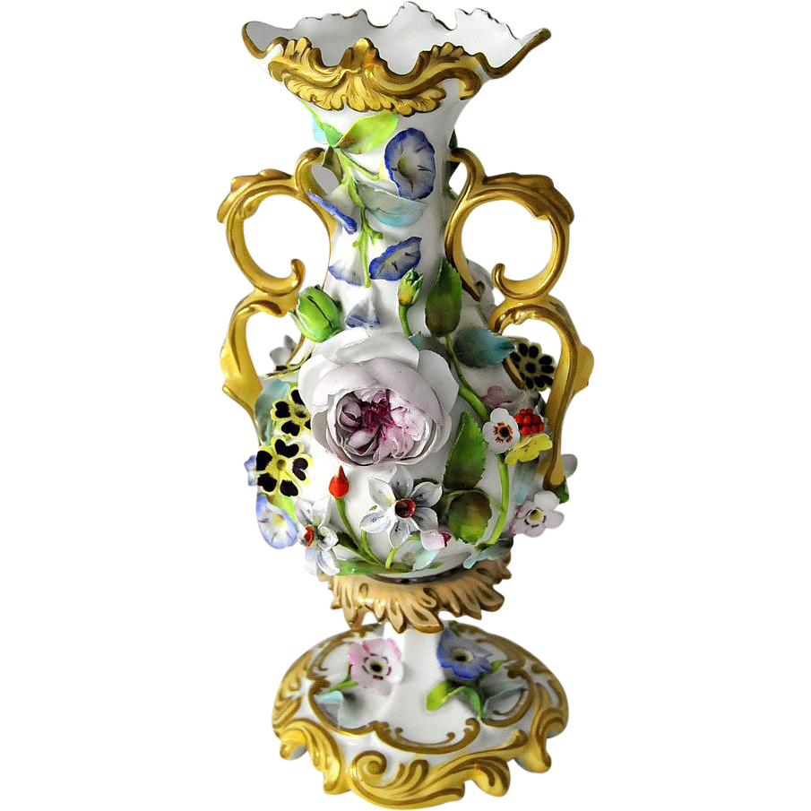 Antique Floral: Antique & Rare, Coalport Floral Encrusted Porcelain Vase