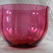 Huge! English Circa 1880 Hand Blown Ribbed Cranberry Glass Bowl
