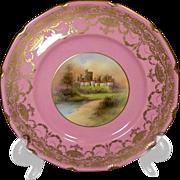RARE 19th century Royal Doulton  Pink & Gilt Castle Plates, S. Hall