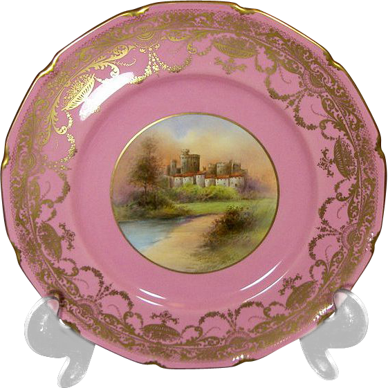 RARE 19th century Royal Doulton  Pink & Gilt Castle Plates, S. Hall