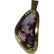 MAGNIFICENT   Free Form Boulder Opal with Diamond Melee Pendent