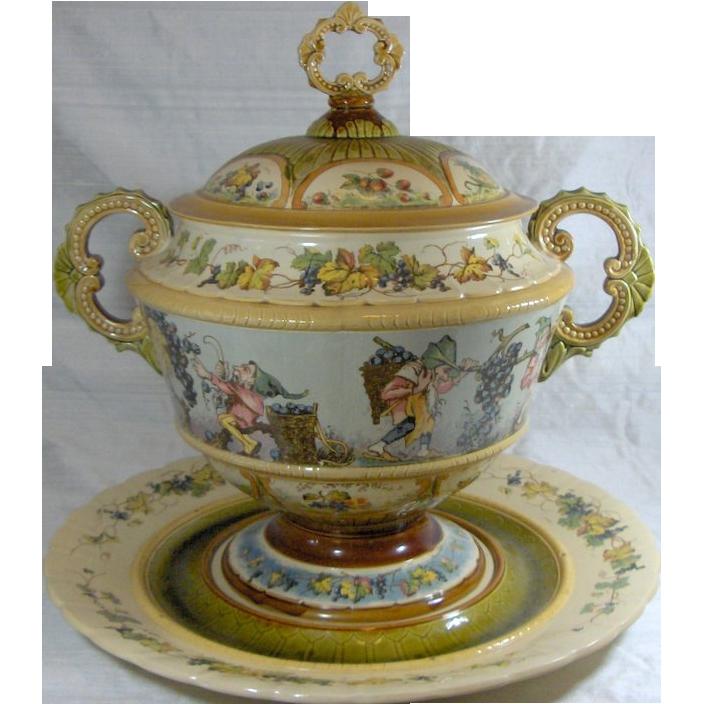 German Mettlach,  Punch Bowl Set, circa 1890