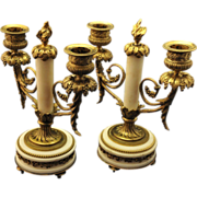 French  Louis XVI,  Ormolu  & Marble Two Arm Candelabra - Red Tag Sale Item