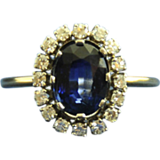 Luminescent Royal Blue Sapphire with Diamonds Cluster Ring, 18kt
