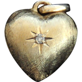 14k Florentine Yellow Gold Puffy Heart with Diamond Pendant or Fob