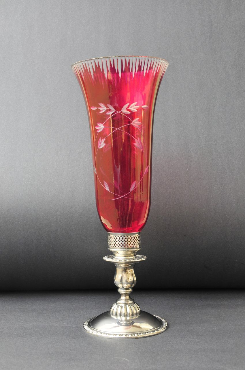 Antique Etched Cranberry Glass Candle Stand, 19th century