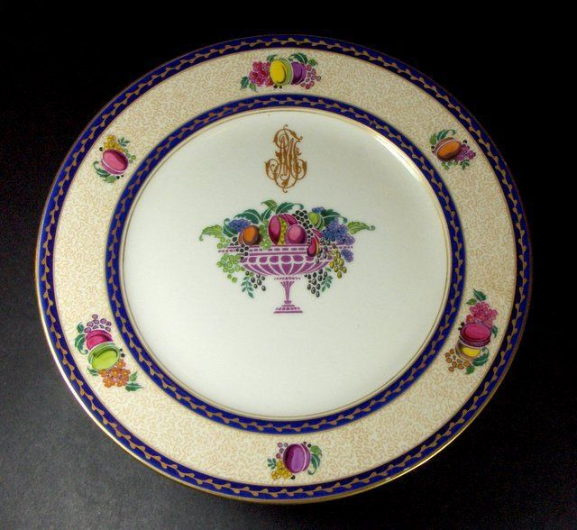Antique French Limoges, 10  Plates with Footed Compote, 19th century