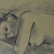 """""""Reclining  Nude"""", Crayon on Sepia,  Stanley Morel Cosgrove 1911- 2002"""