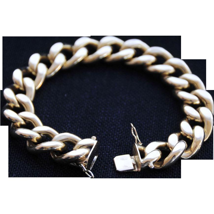 Extravagantly Beautiful ,  Italian 18K Yellow Gold Large Curb Link Unisex Bracelet