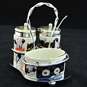 Antique English, Highly Decorative  Staffordshire Condiment Set circa 1820