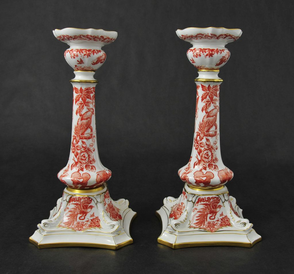 Antique Pair of Royal Crown Derby Candlesticks