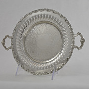 Vintage Chased and Pierced Two Handled Serving Tray