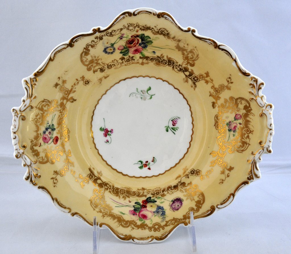 Antique Copeland Barret Spodes Porcelain Footed Serving Dish circa 1835